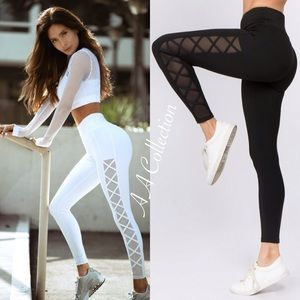 Pants - leggings mesh active sports wear workout exercise